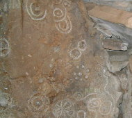 Loughcrew Cairn T - stone carving in left hand chamber