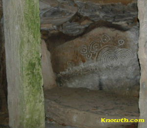 Limestone monolith positioned inside Loughcrew Cairn L