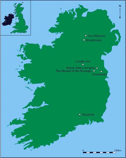Map of Ireland demonstrating the location of the main sites
