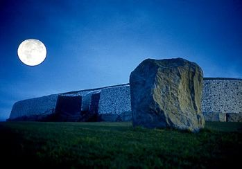 Moonlit Newgrange and Standing Stone