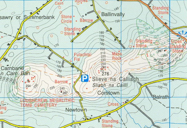 Discovery Map 42 showing about 4km x 3km of the Loughcrew area