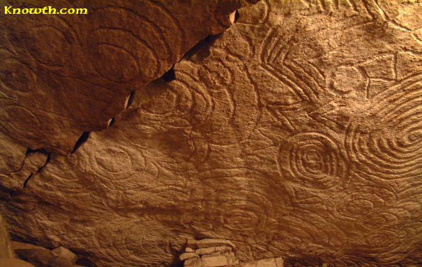 Symbols on roof stone - east recess - New Grange