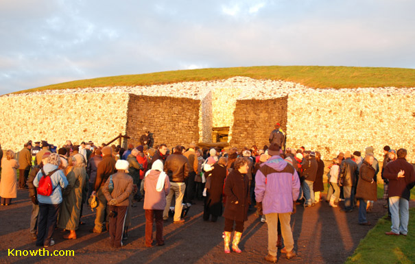 Newgrange fully illuminated by the Winter Solstice Sunrise