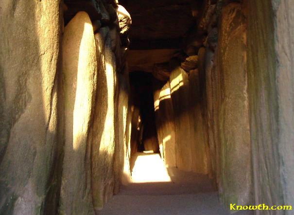 Sun light in the passage at Newgrange
