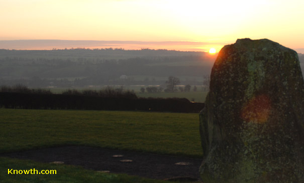 Sunrise viewed from the Newgrange mound